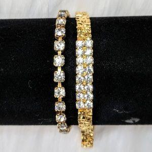 Jewelry - Gold & Rhinestone Bracelet Pair